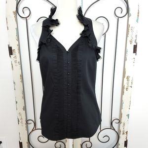White House Black Market ruffled blouse small